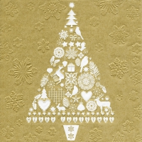 Servietten 33x33 cm - Moments My Xmas tree gold