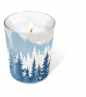 glass candle - Glaskerze Forest silhouette blue