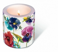 Dekorkerze Candle Watercolour pansies