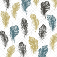 Servietten 25x25 cm - Coloured feathers