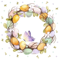 Servietten 33x33 cm - Eggs Wreath