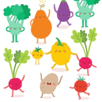 Servietten 33x33 cm - Happy Veggies