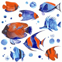 Servietten 24x24 cm - Tropical fish