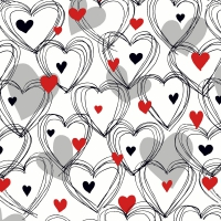 Servietten 25x25 cm - Shower of hearts red
