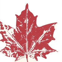 Die-cut napkins - Maple leaf red