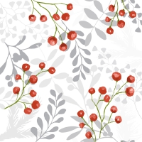 Servietten 33x33 cm - Red berries