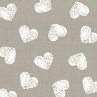 Cocktail Servietten Fashion Hearts taupe white 25x25 cm