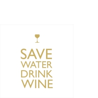 Servietten 25x25 cm - Save Water gold