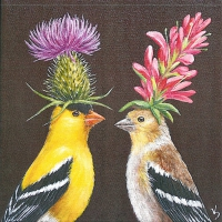 Servietten 25x25 cm - Goldfinch Couple