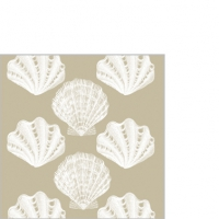 Cocktail Servietten Riviera Shells taupe