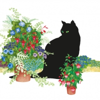 Napkins 25x25 cm - Black Cat Flower Pot