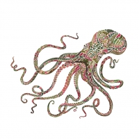 Napkins 25x25 cm - Green Octopus