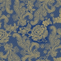 Lunch Servietten Lace Royal blue/gold