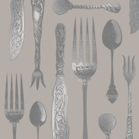 Lunch Servietten Tableware Embossed taupe silver