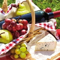 Lunch Servietten Cheese Wine & Grapes