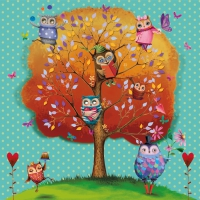 Lunch Servietten Owls favorite Tree