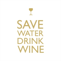 Servietten 33x33 cm - Save Water gold