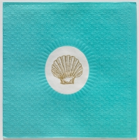 Lunch Servietten Medaillon Shell aqua