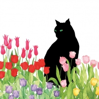 Servietten 33x33 cm - Black Cat Tulips