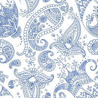 Lunch Servietten Paisley white indigo