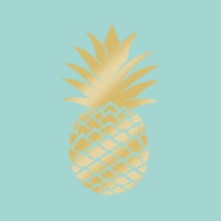 Servietten 33x33 cm - Pineapple gold mint