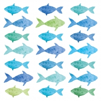 Servietten 33x33 cm - Aquarell Fishes