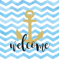 Servietten 33x33 cm - Welcome Anchor