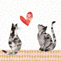 Servietten 33x33 cm - Cats in Love
