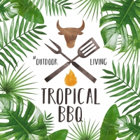 Servietten 33x33 cm - Tropical BBQ white