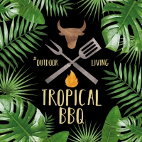 Servietten 33x33 cm - Tropical BBQ black