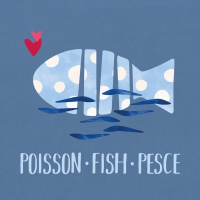 Servietten 33x33 cm - Poisson Fish Pesce blue