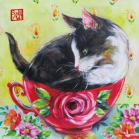Servietten 33x33 cm - Chat en Rose