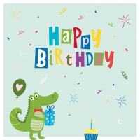 Servietten 33x33 cm - Croco Birthday