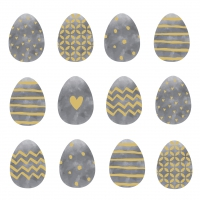 Servietten 33x33 cm - Easter Dream grey