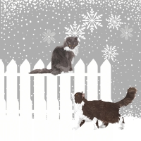 Cocktail Servietten Snowfall Cats