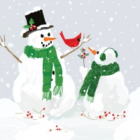 Cocktail Servietten Snowmen & Cardinal