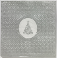 Lunch Servietten Medaillon Xmas tree silver