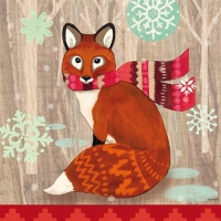 Lunch Servietten Fox with Scarf