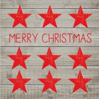 Lunch Servietten Merry Christmas Stars red/wood