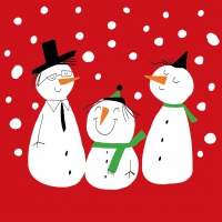 Lunch Servietten Smiling Snowmen red