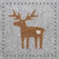 Lunch Servietten Felt Reindeer grey