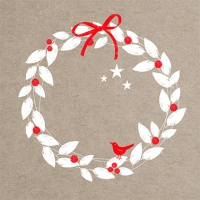Lunch Servietten Xmas Wreath linen