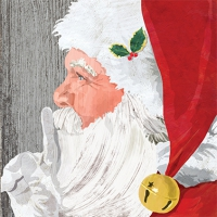 Servietten 33x33 cm - Yuletide Santa wood