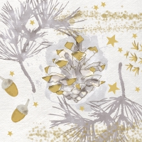 Servietten 33x33 cm - Golden Nature gold