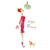 Servietten 33x33 cm - Happy Kiss-Mas