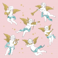 Servietten 33x33 cm - Angels in the Sky rosé