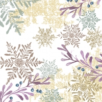 Servietten 33x33 cm - Snowflakes and Leaves