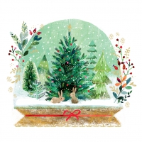 Servietten 33x33 cm - Holiday Snowglobe
