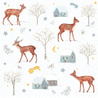 Servietten 33x33 cm - X-mas Deer Village