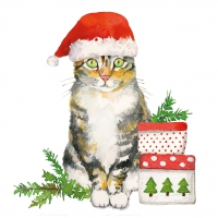 Servietten 33x33 cm - Christmas Kitty